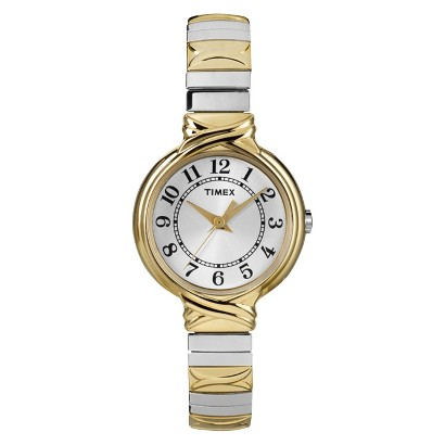 Women's Timex® Two Tone Expansion Band Watch - Gold/Sivler