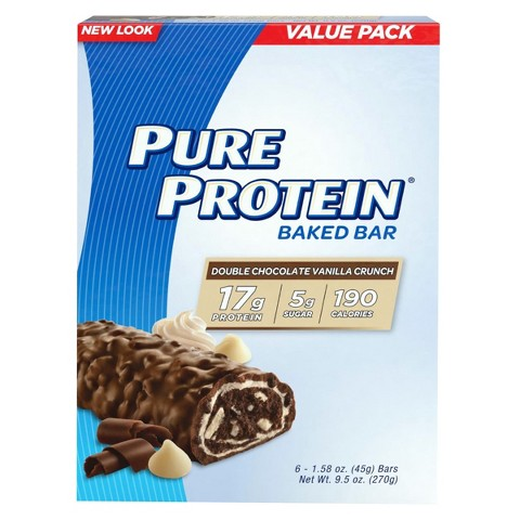 Pure Protein® Double Chocolate Vanilla Crunch Baked Bar - 6 Count (1.58 oz each)