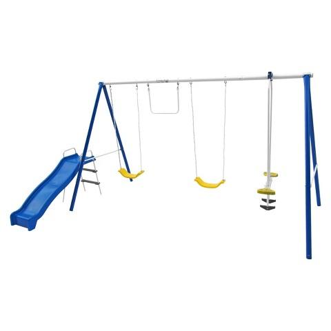 """Flexible Flyer """"Swing N Play"""" Steel Swing Set - Blue/ Yellow"""