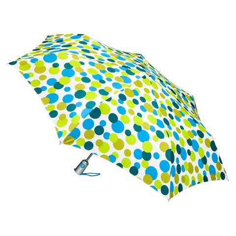 totes Auto Open Umbrella - Blue/Green Bubbles