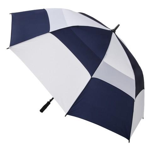 totes® Double Canopy Golf Stick Umbrella - Navy + White