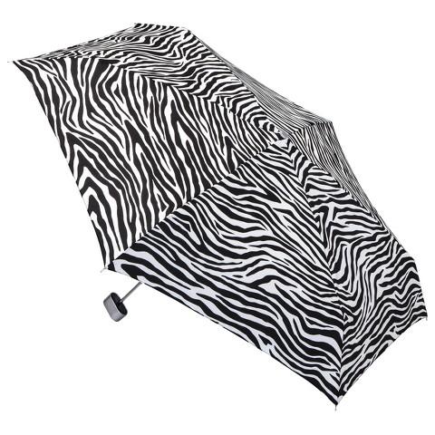 totes Manual Purse Umbrella with Case - Zebra Stripe