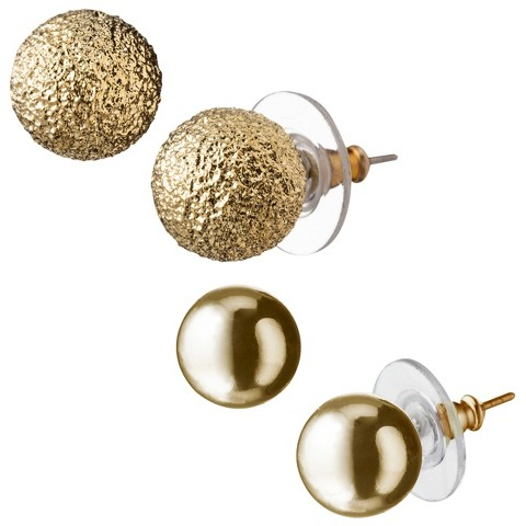 Round Textured Stud Earrings - Gold