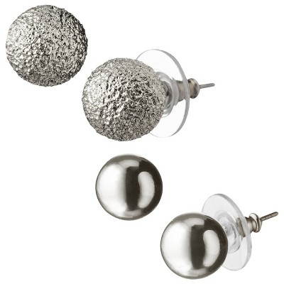 Round Textured Stud Earrings - Shiny