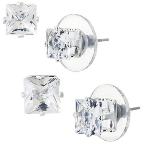 Crystal Stud Earrings - Silver