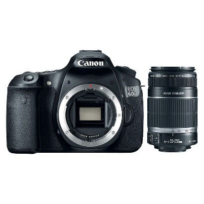 Canon EOS 60D 18MP DSLR Camera with 55-250mm Lenses - Black
