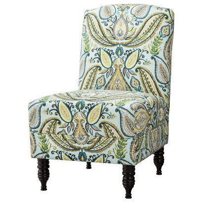 Mallory Upholstered Armless Chair - Green/Blue/Yellow Paisley