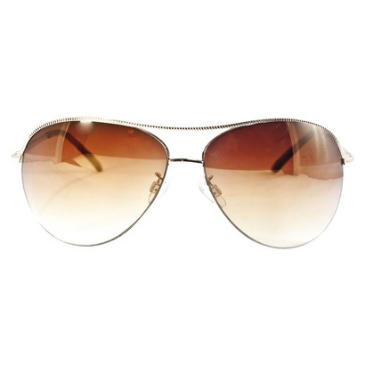Metal Coined Aviator Sunglasses - Gold