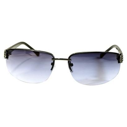 Semi Rimless Sunglasses with Stones - Gunmetal