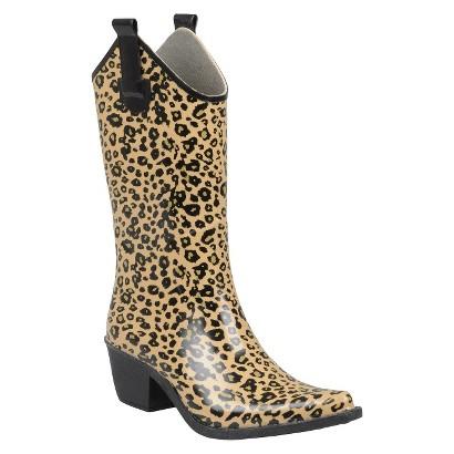 Women's Leopard Print Cowboy Rainboots - Tan