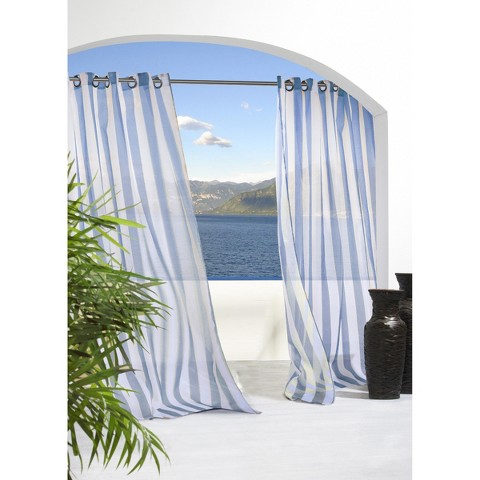 Outdoor Decor™ Escape Stripe Indoor/Outdoor Grommet Top Sheer Curtain Panel