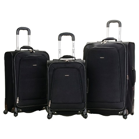 Rockland Fusion 3-pc. Expandable Spinner Luggage Set - Black