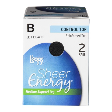 L'eggs® Women's Sheer Energy Control Top Pantyhose Reinforced Toe 2-Pack