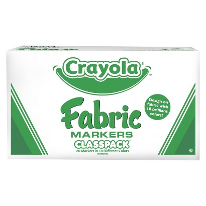 Crayola 10 Colors Fabric Marker Classpack - 80 Count
