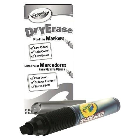 Crayola Dry Erase Black Marker Pack - 12 Count