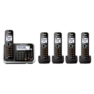 Panasonic DECT 6.0 Cordless Phone System (KX-TG6845B) with Answering Machine, 5 Handsets - Black
