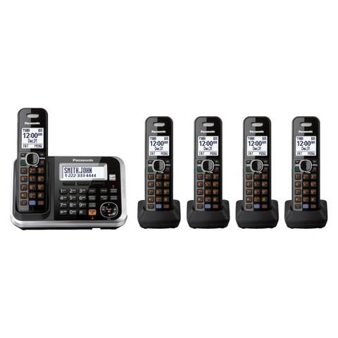Panasonic DECT 6.0 Cordless Phone System (KX-TG6845B) with Answering Machine, 5 Handsets - Black