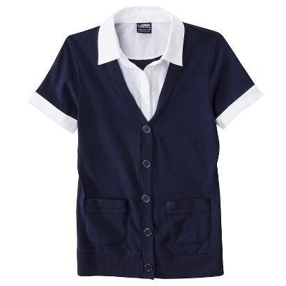 French Toast® Girls' School Uniform Short-Sleeve 2-Fer Cardigan