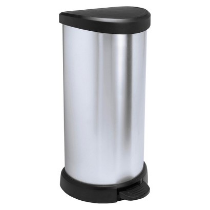 CURVER 40 LITER ROUND STEP OPEN TRASH CAN - SILVER
