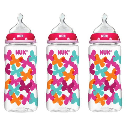NUK® TRENDLINE™ Medium Flow 10 oz Orthodontic Bottles - Butterflies (3 Pack)