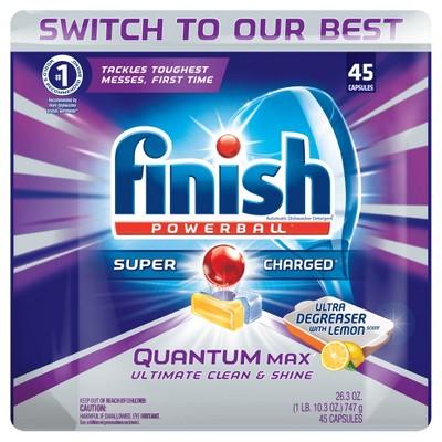 Finish Quantum Dishwasher Detergent, Lemon Sparkle Scent, 45 Count