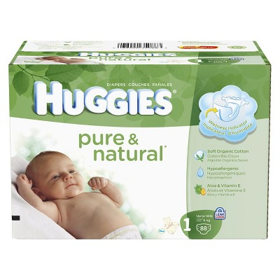 HUGGIES® Pure & Natural Diapers Super Pack - Size 1 (88 count)