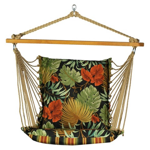 Soft Comfort Patio Hanging Chair - Brown/Green/Orange Tropical