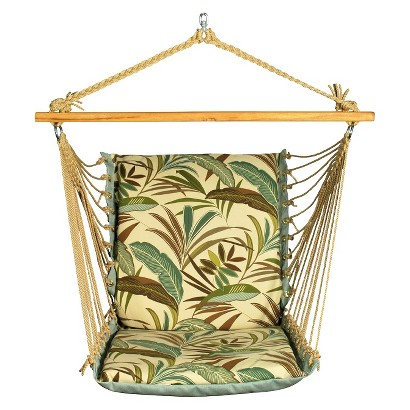 Soft Comfort Patio Hanging Chair - Brown/Green Tropical