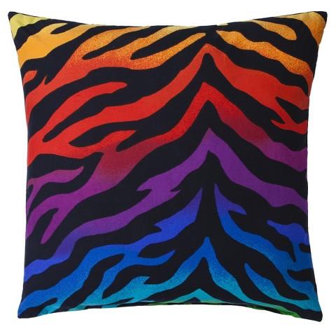 "Zebra Rainbow Square Pillow - 18x18"""