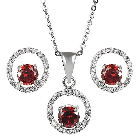 Sterling Silver Cubic Zirconia Jewelry Set - Red