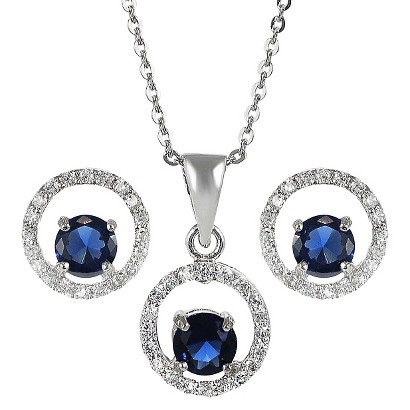 Sterling Silver Cubic Zirconia Jewelry Set - Blue