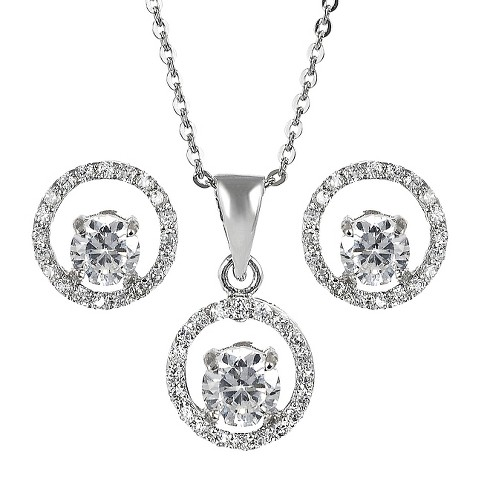 Sterling Silver Cubic Zirconia Jewelry Set - Clear