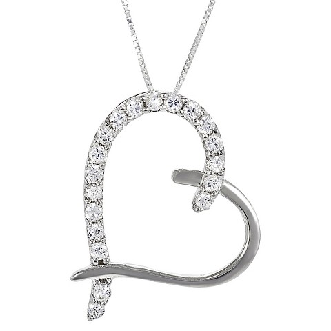 Sterling Silver Cubic Zirconia Heart Necklace - Silver