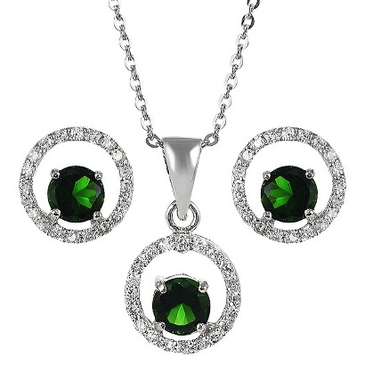 Sterling Silver Cubic Zirconia Jewelry Set - Green