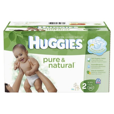 HUGGIES® Pure & Natural Diapers Super Pack - Size 2 (80 count)