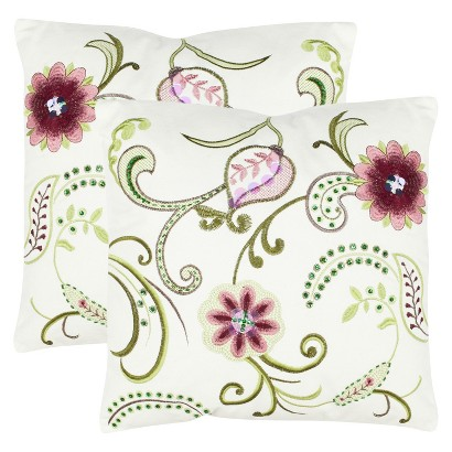 "Safavieh 2-Pack Bejeweled Stitched Floral Toss Pillows (18x18"")"