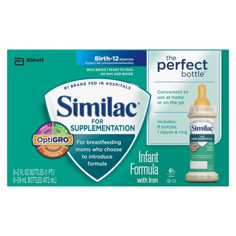 Similac® for Supplementation Ready To Feed Infant Formula Bottles, 2 Fl oz. (48 Count)
