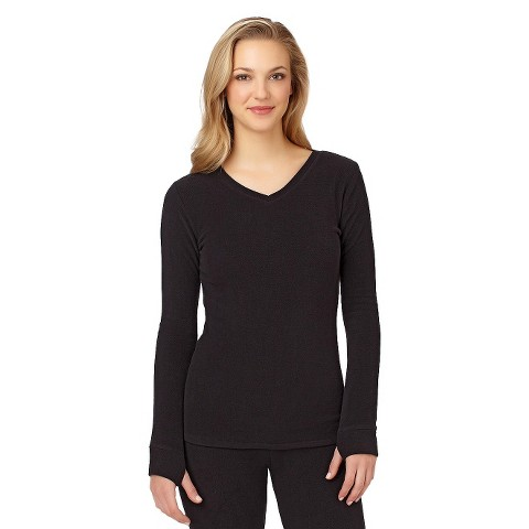 Warm Essentials® by Cuddl Duds® Women's Stretch Fleece Thermal Long Sleeve V-Neck