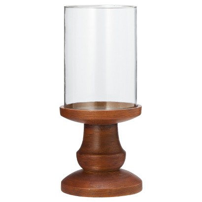 Smith & Hawken® Wood and Glass Hurricane Candleholder 6x14""