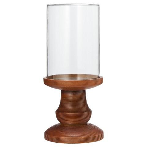 "Smith & Hawken™ Wood and Glass Hurricane Candleholder 6x14"""