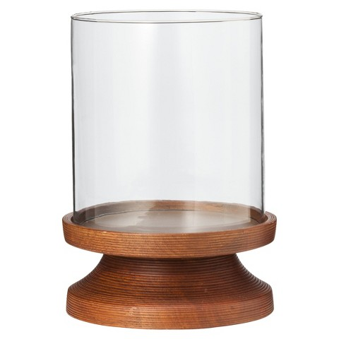 "Smith & Hawken™ Wood and Glass Hurricane Candleholder 7.5x11"""