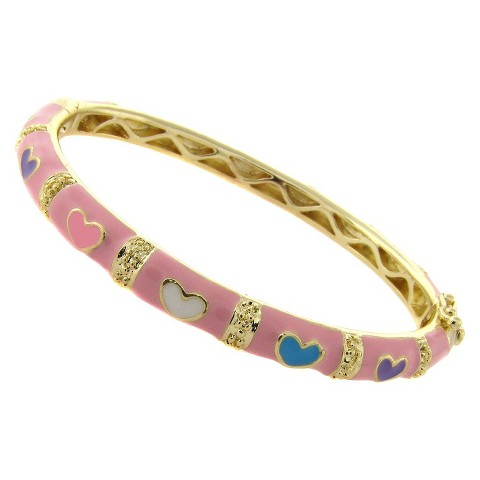 ELLEN 18k Gold Overlay Enamel Heart Design Bangle - Pink