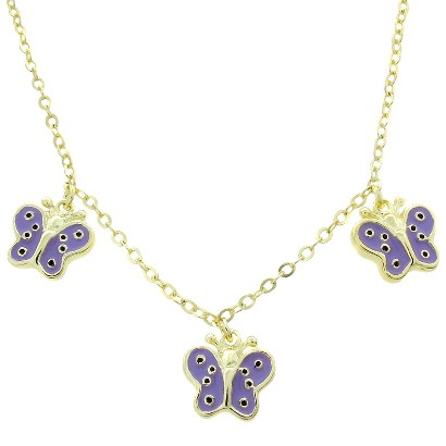 Lily Nily 18k Gold Overlay Butterfly Dangle Necklace - Lavender