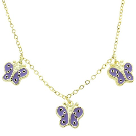 ELLEN 18k Gold Overlay Butterfly Dangle Necklace - Lavender
