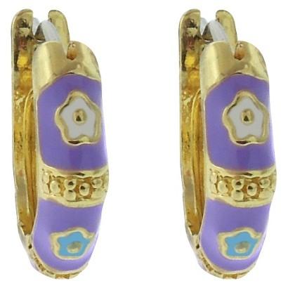 Lily Nily 18k Gold Overlay Enamel Flower Design Hoop Earrings - Lavender