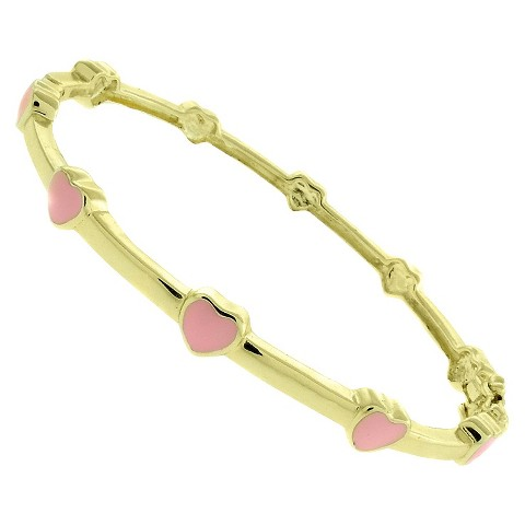 ELLEN 18k Gold Overlay Enamel Heart Design Bangle - Pink