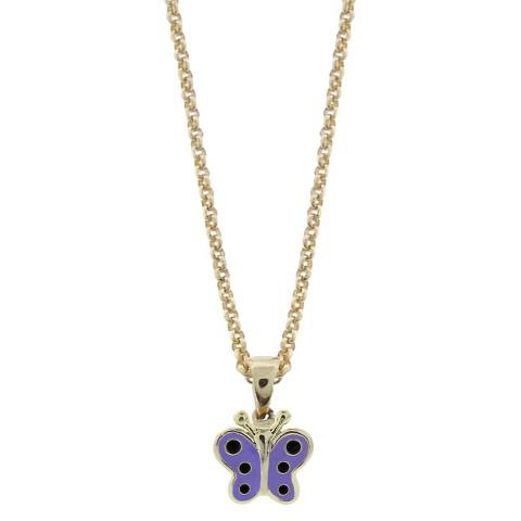 ELLEN 18K Gold Overlay Enamel Butterfly Pendant - Lavender