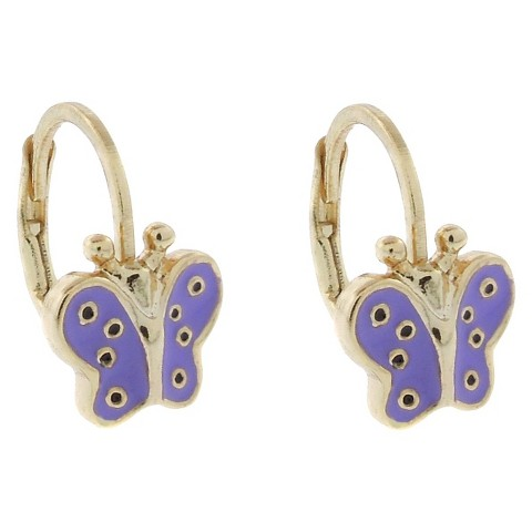 ELLEN 18k Gold Overlay Enamel Butterfly Leverback Earrings - Lavender