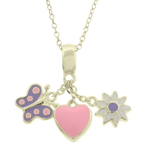 ELLEN 18k Gold Overlay Enamel Heart/Butterfly/Flower Dangle Necklace - Multicolored