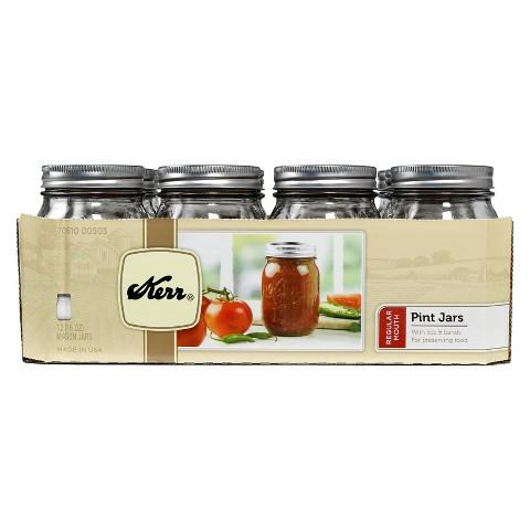 Kerr 1 Pint (16 oz.) Regular Mouth Mason Jar - Set of 12